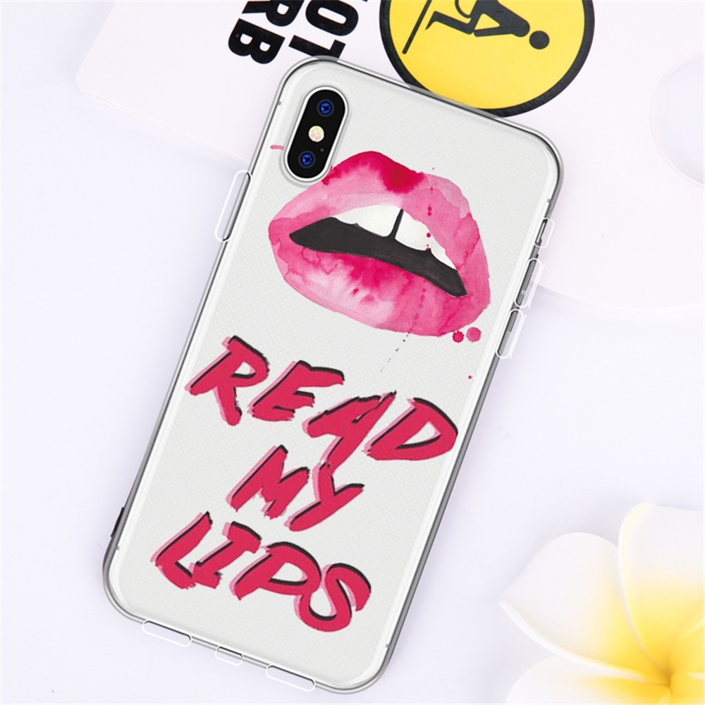 Text Red Lip TPU Wear Proof Soft Protective Case for iPhone X
