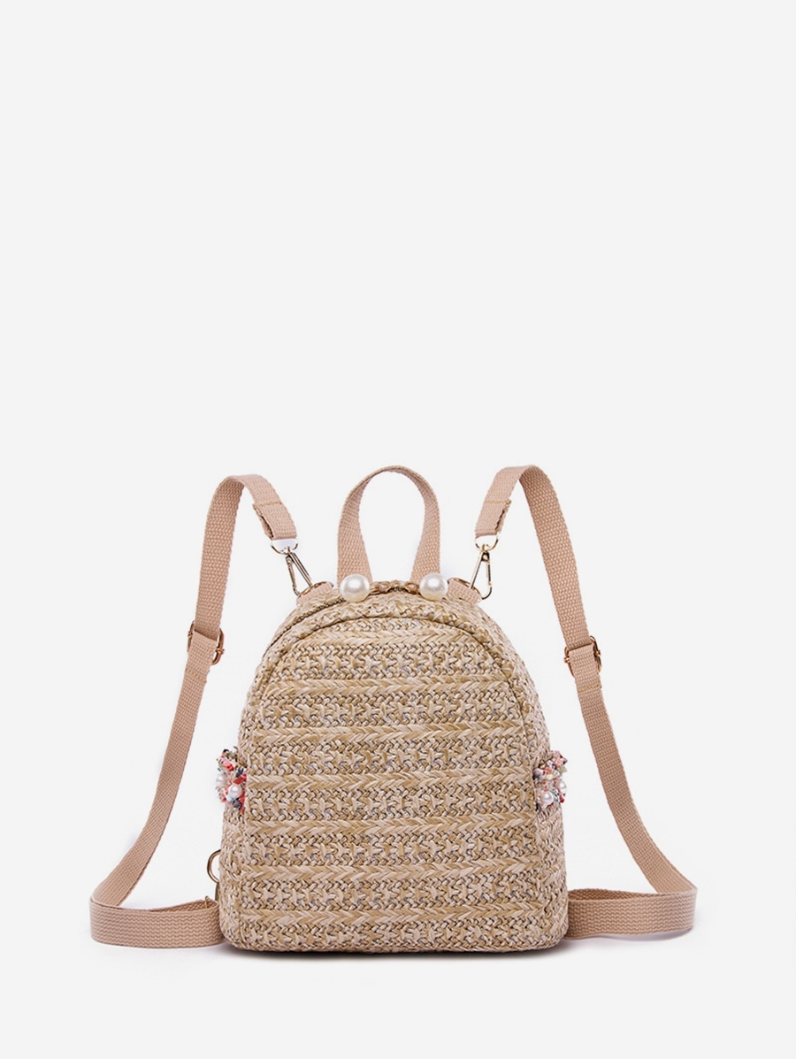 Woven Straw Mini Backpack