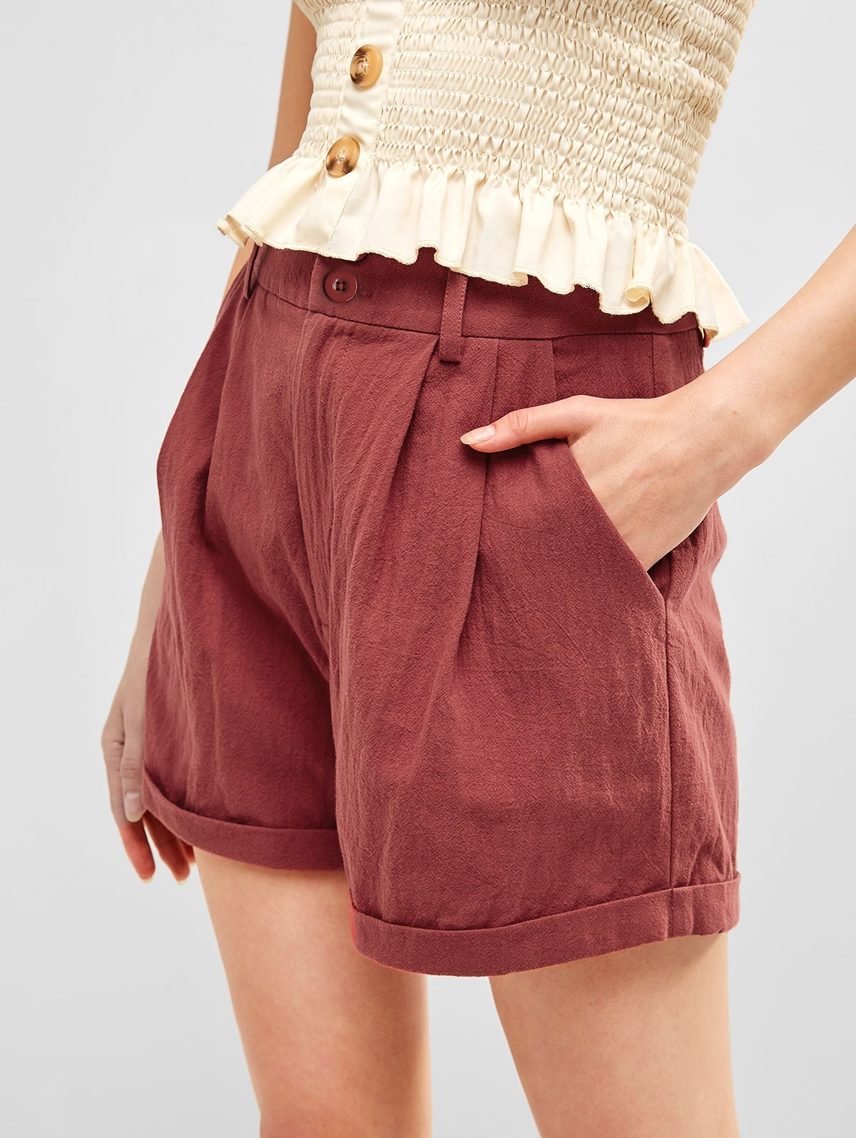 Zip Fly Rolled Hem Casual Shorts