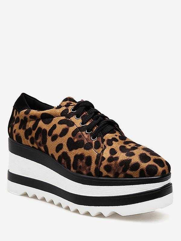 Lace Up Leopard Platform Shoes