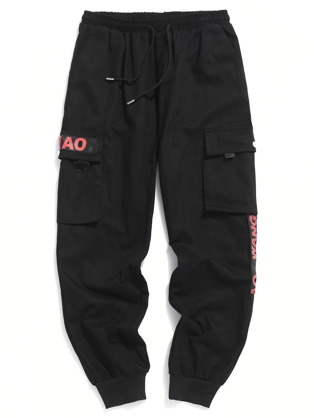 Letter Print Multi-pocket Casual Jogger Pants