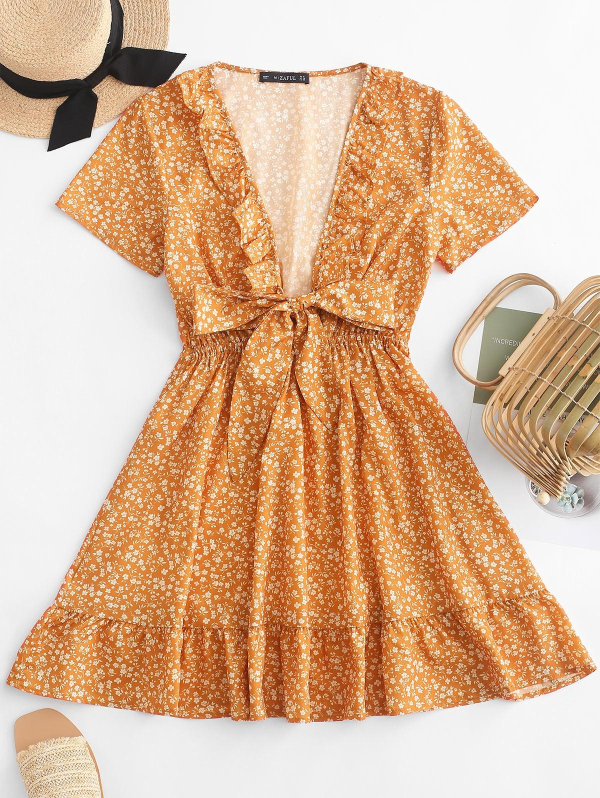 Ruffles Tie Front Floral Dress