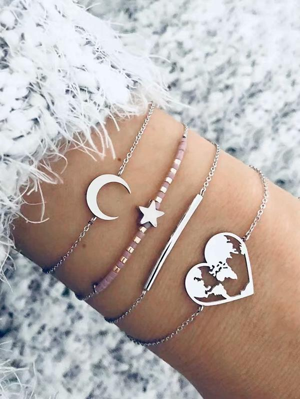 4Pcs Moon Star Heart Bracelet Set