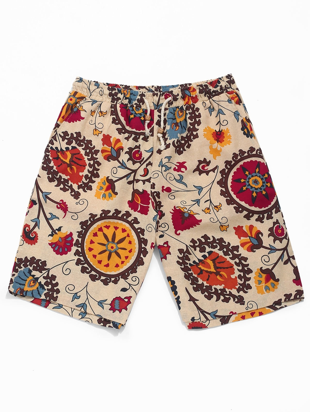 Ethnic Tribal Floral Print Board Shorts