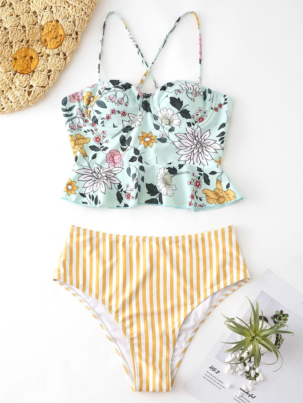 Floral Striped Lace Up Peplum Tankini Set