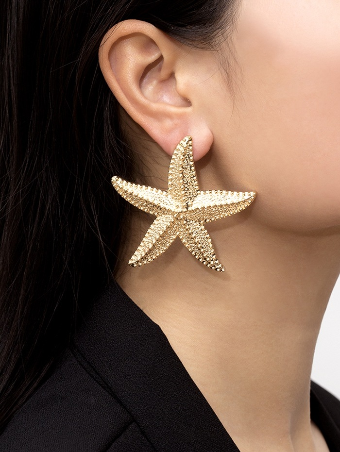 Starfish Carved Shape Stud Earrings