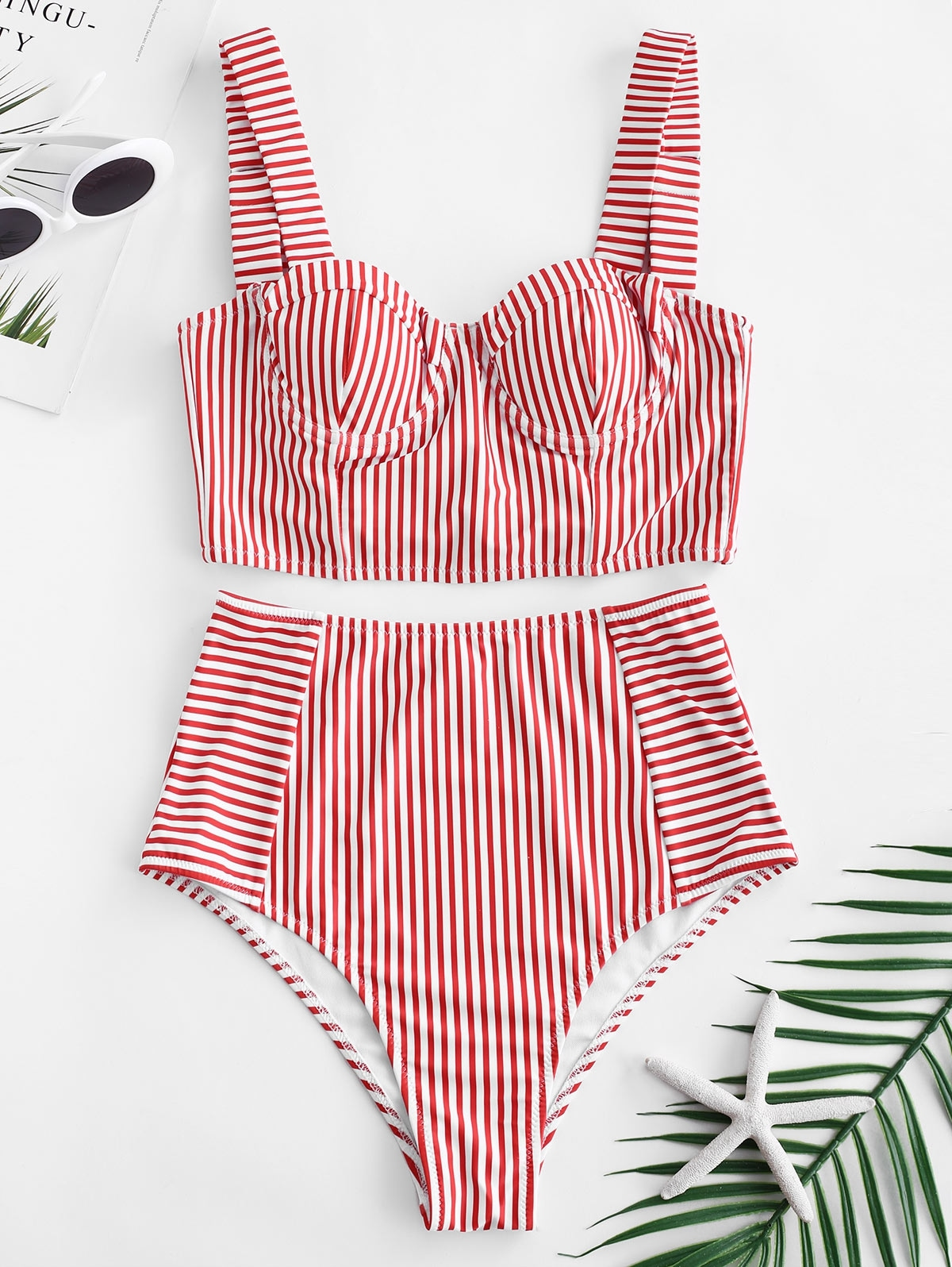 Stripe Lace-up Underwire Tankini Set