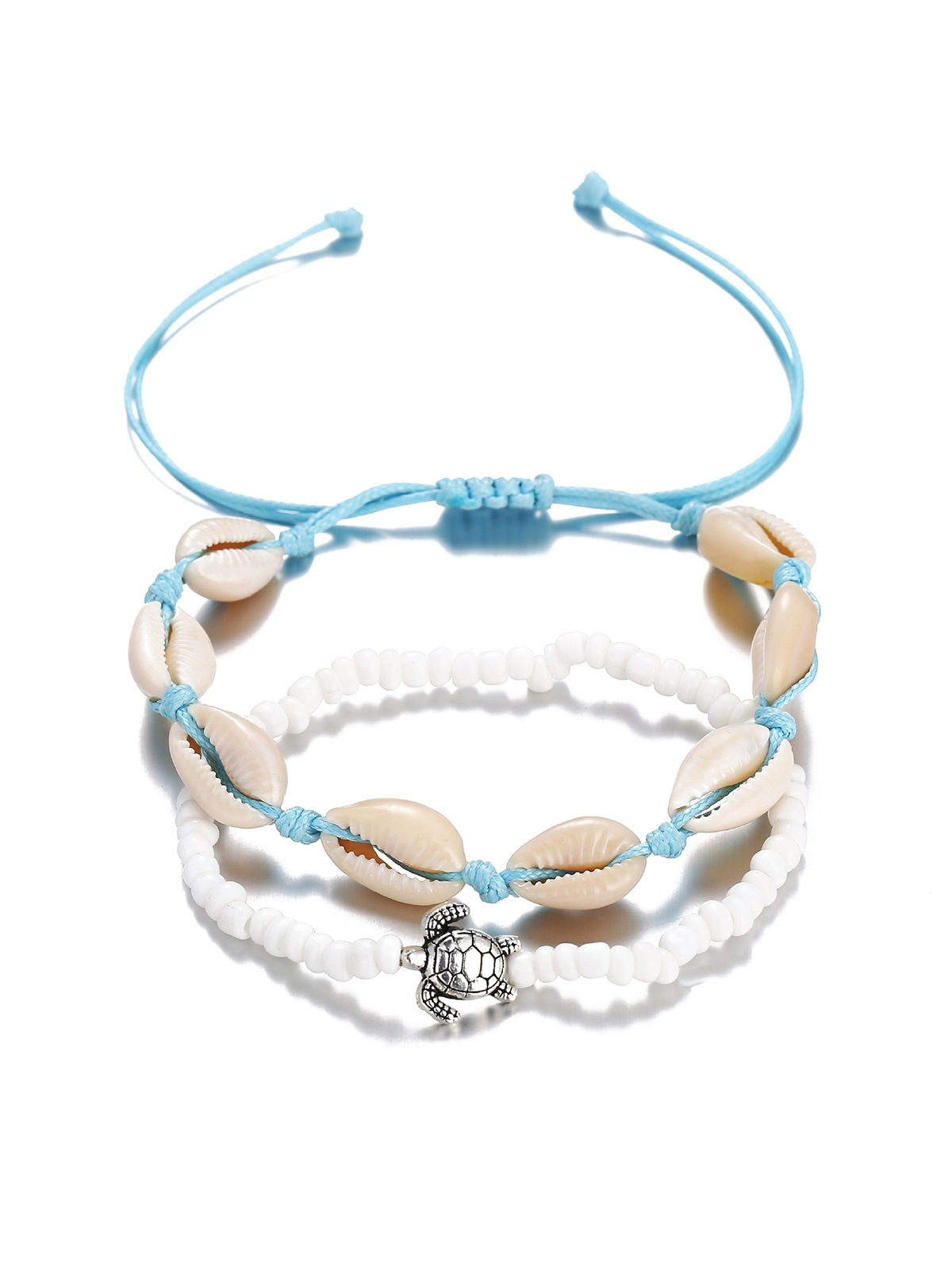 Turtle Shell Beaded Beach Anklet Set