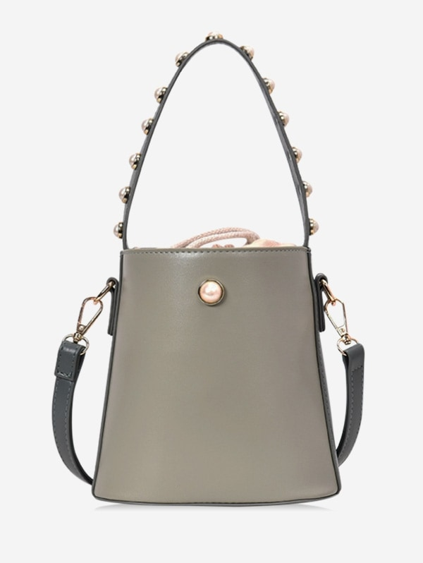 Bucket Pearl Decorated Shoulder Bag