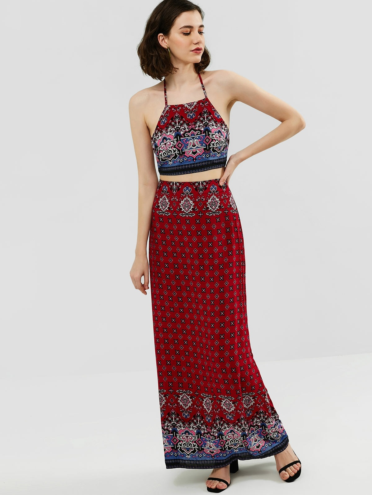 Halter Printed Top and Maxi Skirt Set