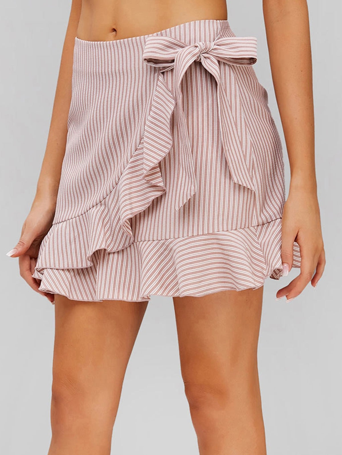 Ruffle Knot Striped Skirt