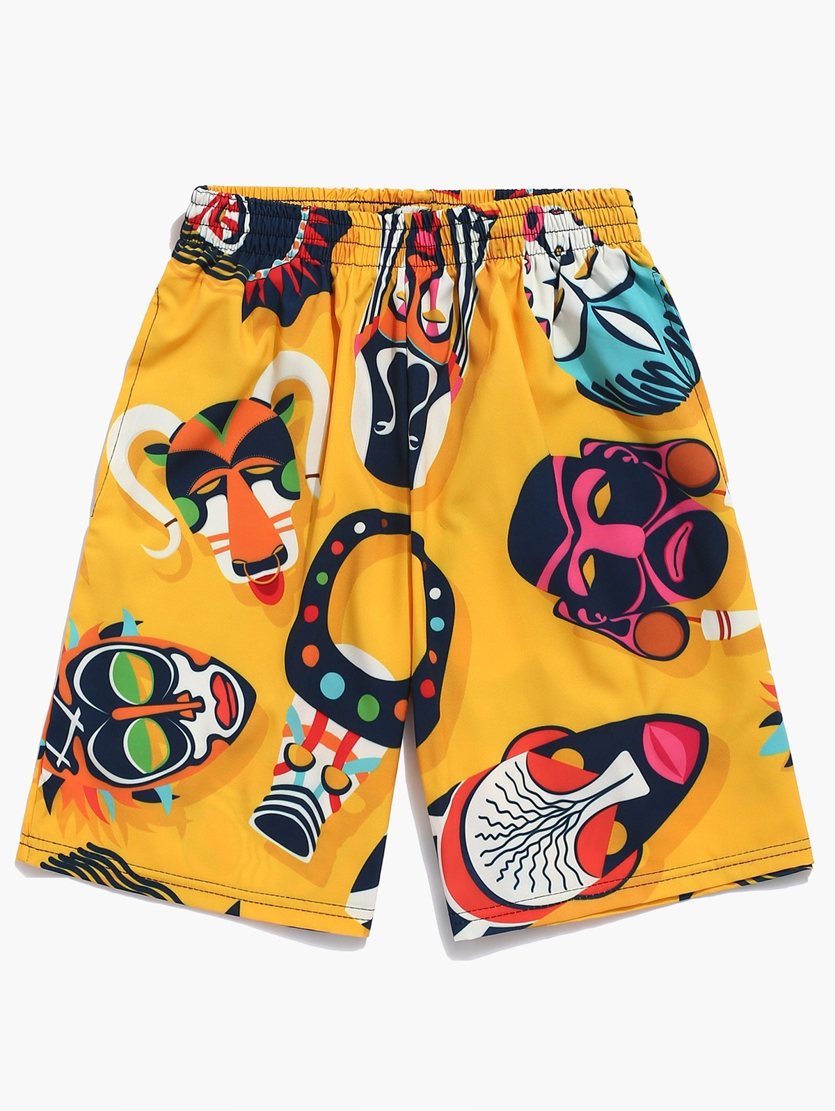Animal Face Mask Print Beach Shorts