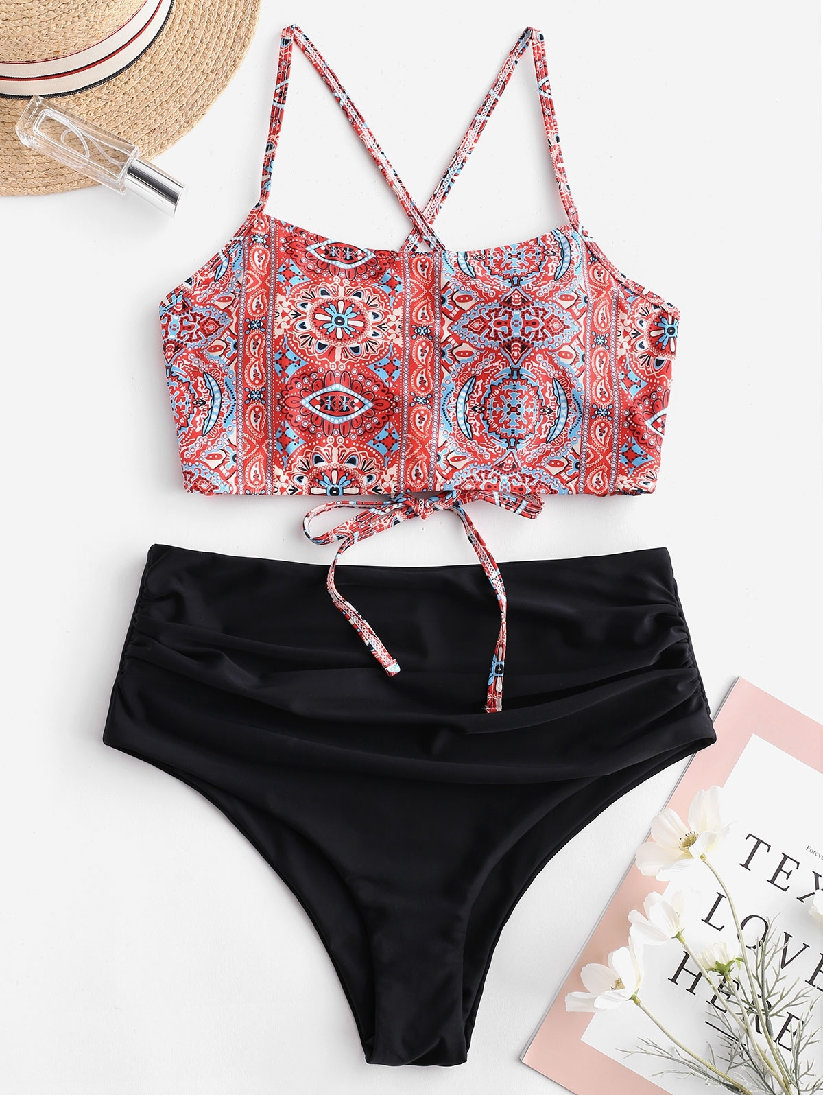 Bohemian Lace Up Blouson Tankini Set