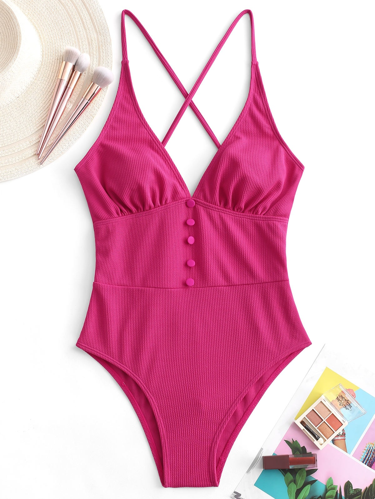 Button Crisscross Ribbed One-piece Swimsuit