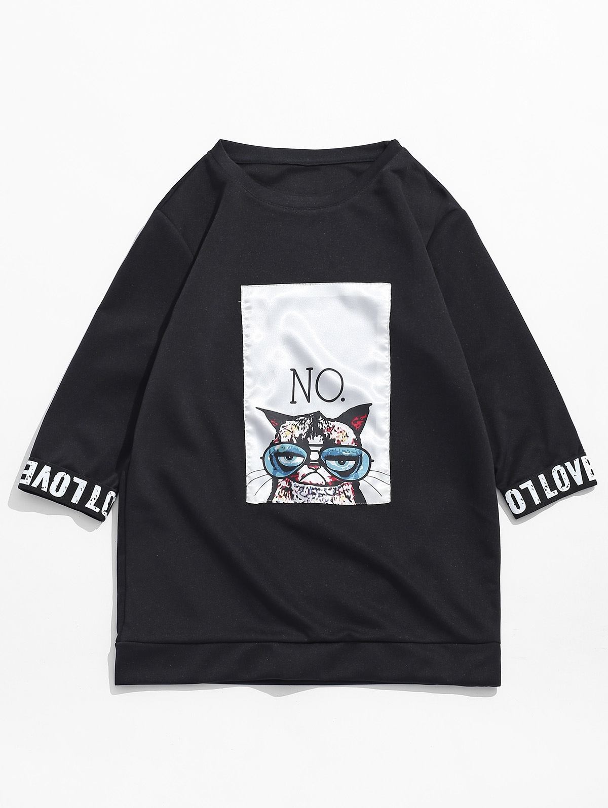 Cat Print Patchwork Letters Short Sleeves T-shirt