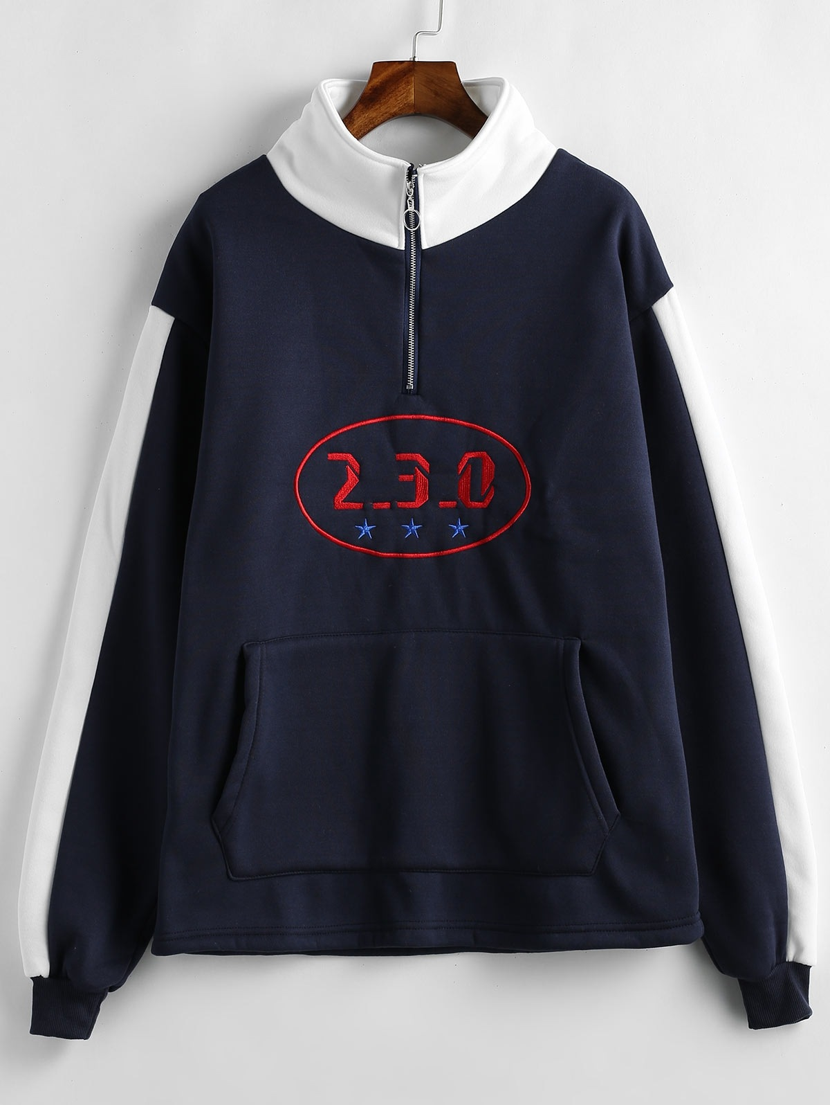 Embroidered Fleece Lined Pouch Pocket Sweatshirt