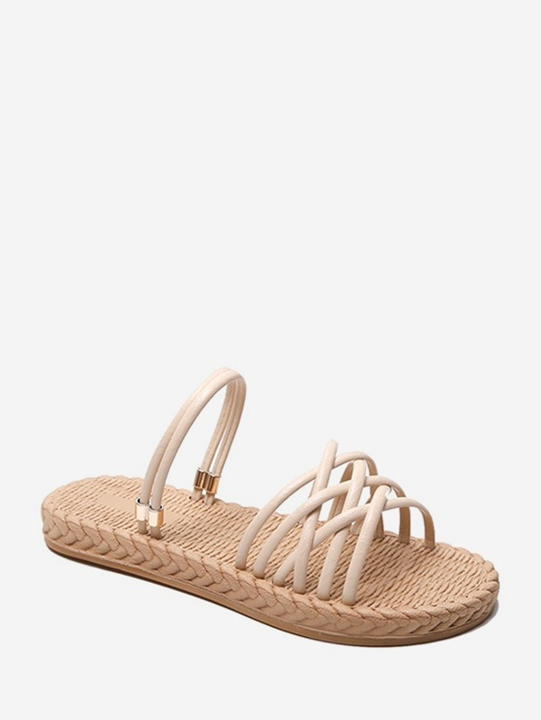 Flat Heel Woven Hollowed Out Simple Sandals