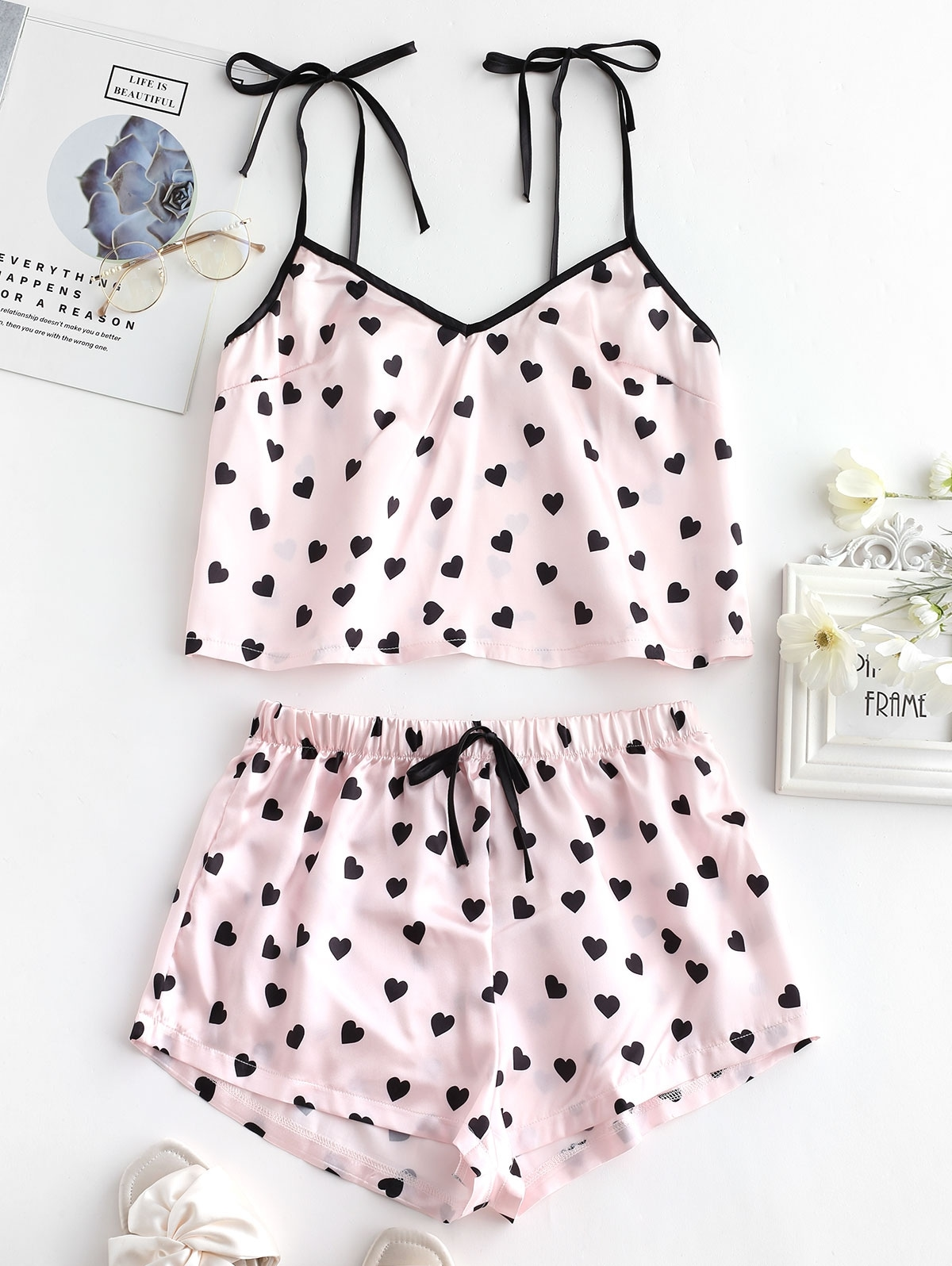 Heart Silky Pajama Shorts Set
