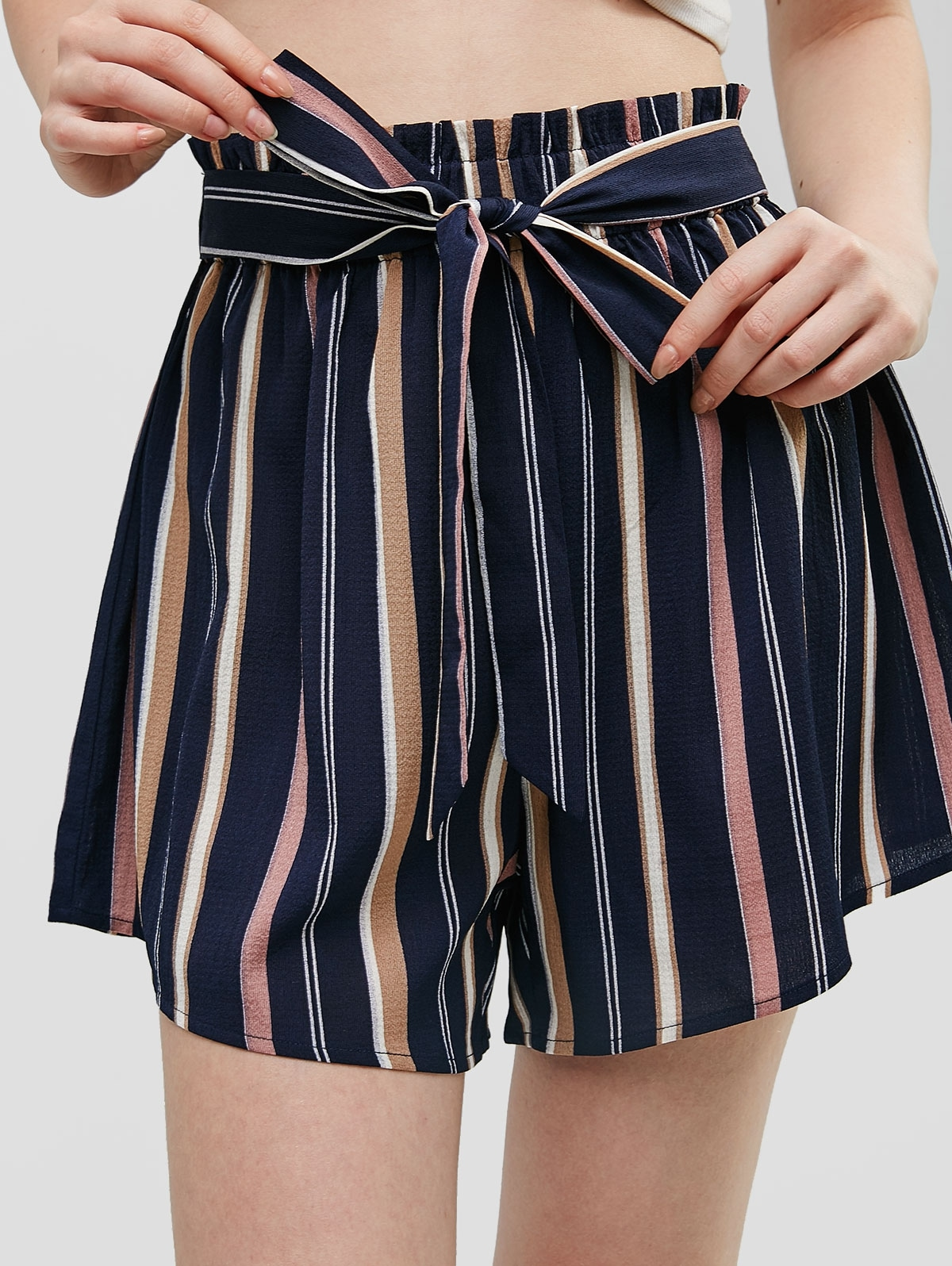 Knotted Stripes High Waisted Shorts