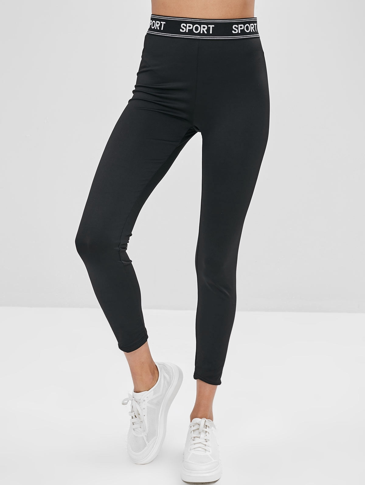 Letter Patched High Waist Leggings