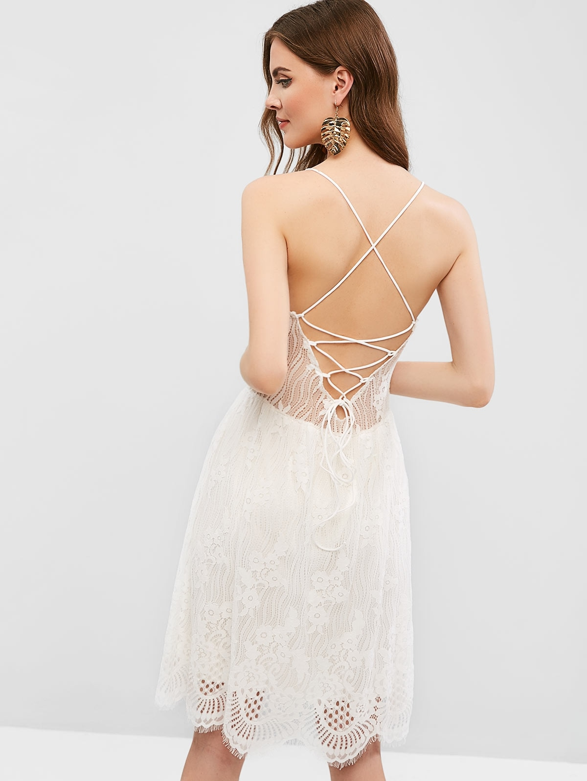 Open Back Lace Up Cami Lace Dress