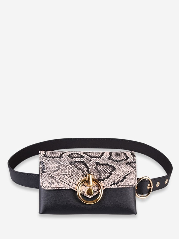 Snakeskin Decoration PU Fanny Pack