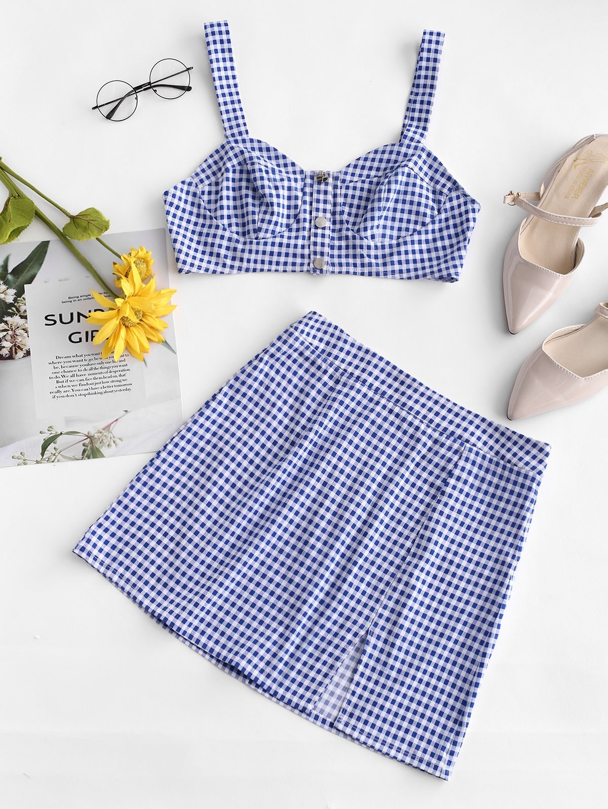 Snap-button Gingham Two Piece Dress