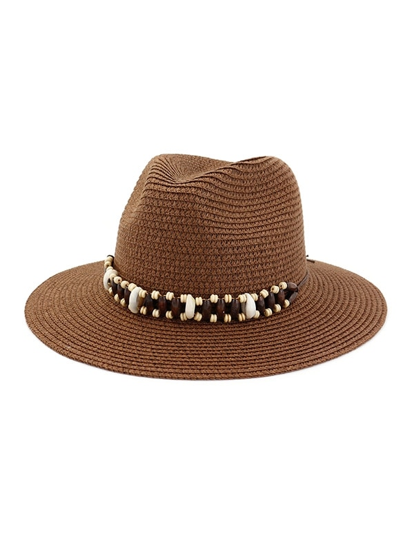 Straw Natural Beads Decorated Beach Sun Hat
