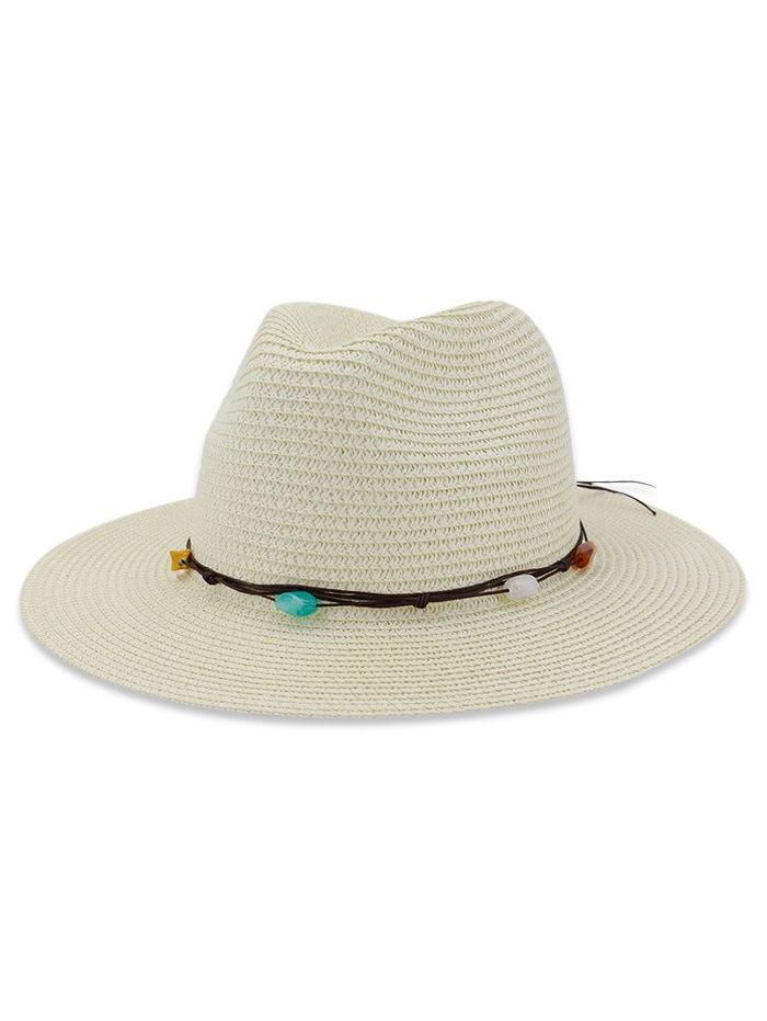 Straw Natural Stone Decorated Sun Hat