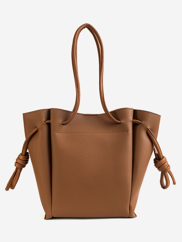 String Solid Leather Casual Shoulder Bag