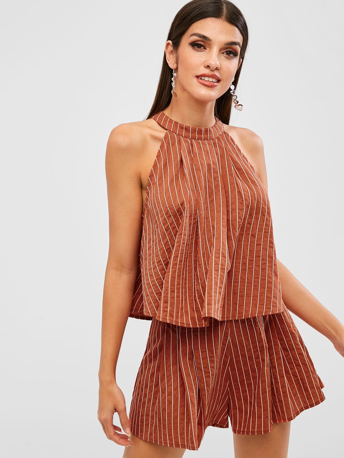 Stripes Top And Wide Leg Shorts Set