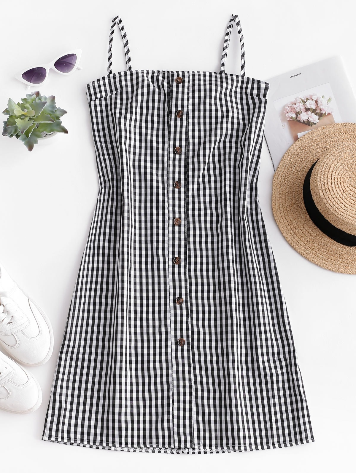 Tied Back Plaid Buttoned Cami Dress
