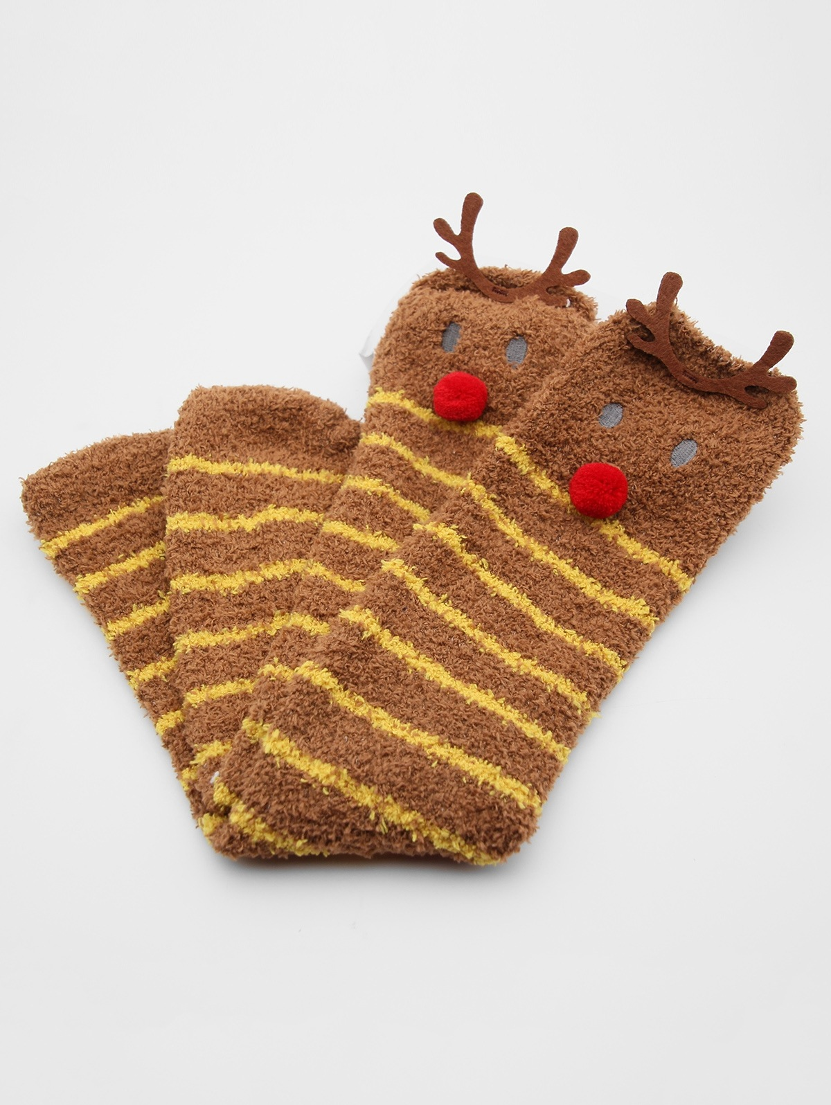 Christmas Elk Striped Fuzzy Floor Socks