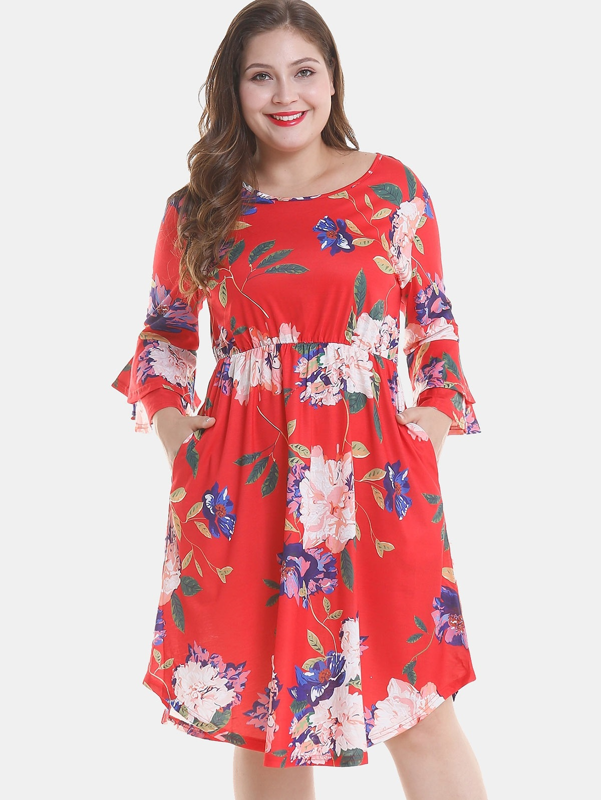 Floral Plus Size Tier Flare Sleeve Dress