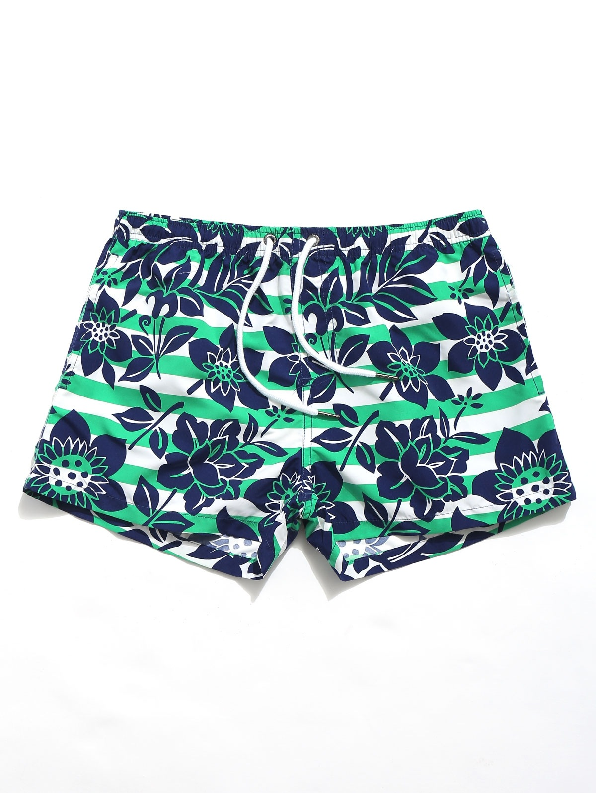 Flowers Stripes Print Beach Shorts
