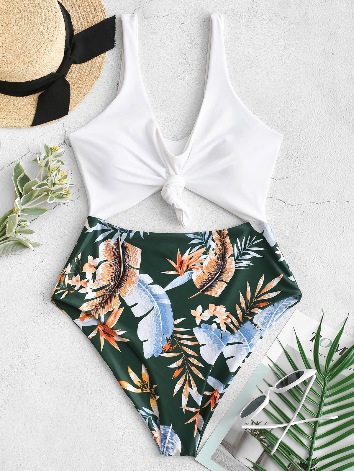High Cut Contrast Knotted Leaf Swimsuit