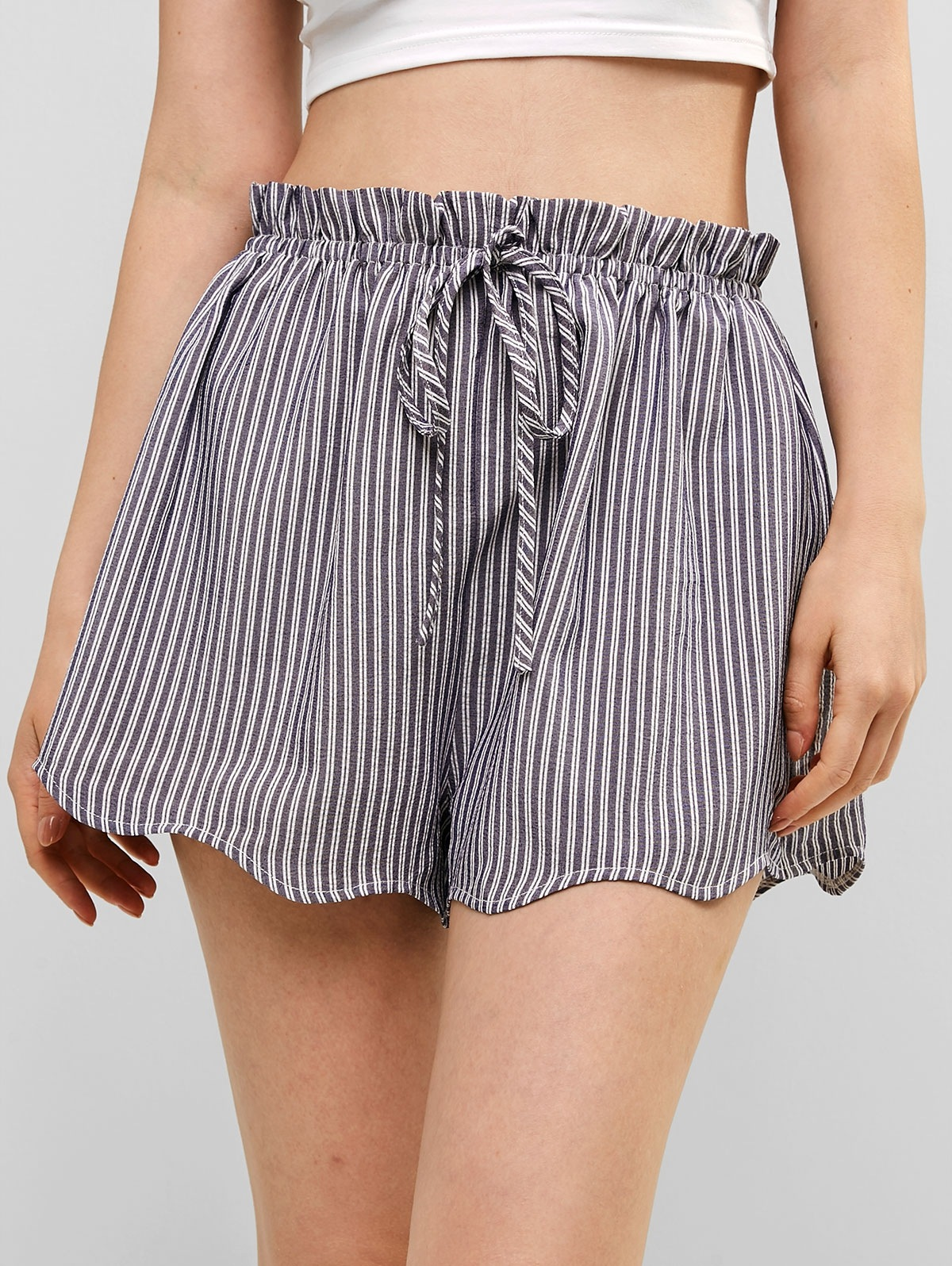 High Waisted Stripes Scalloped Shorts