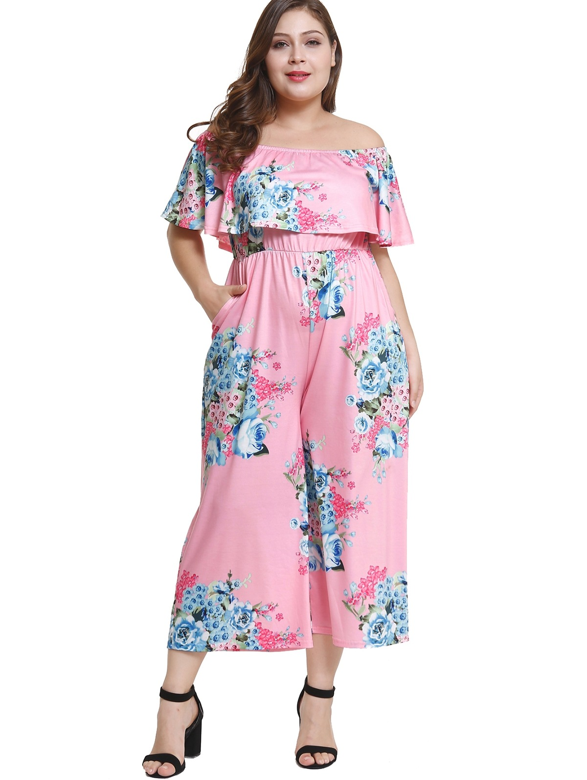 Off Shoulder Plus Size Floral Flounce Jumpsuit