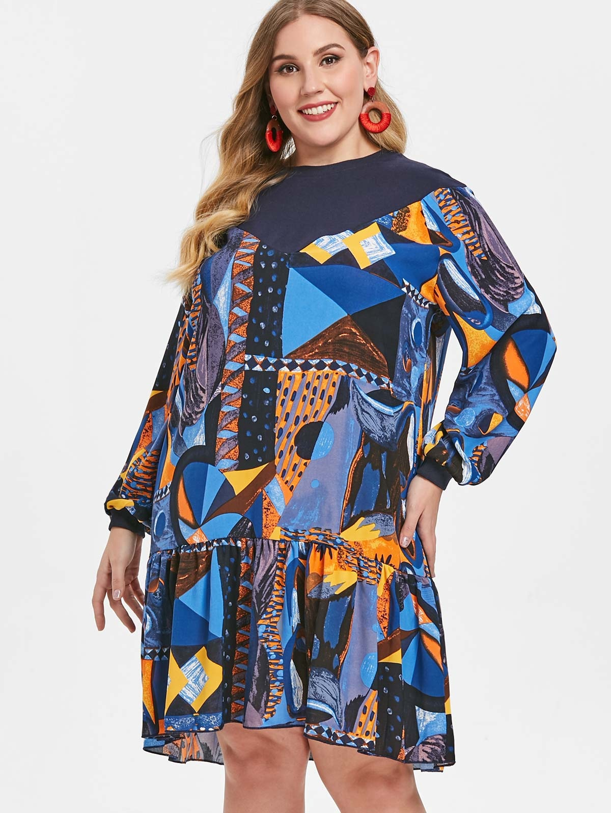 Printed Plus Size Drop Waist Dress
