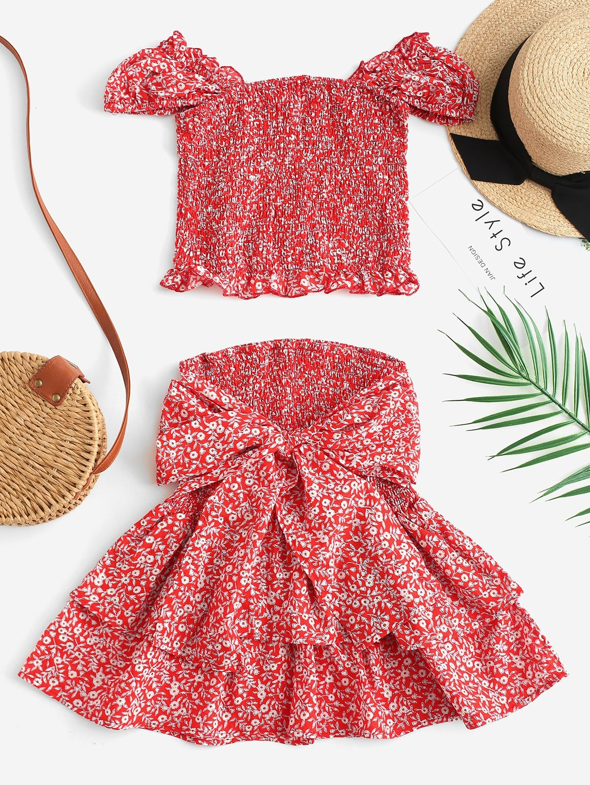 Shirred Tiny Floral Two Piece Dress