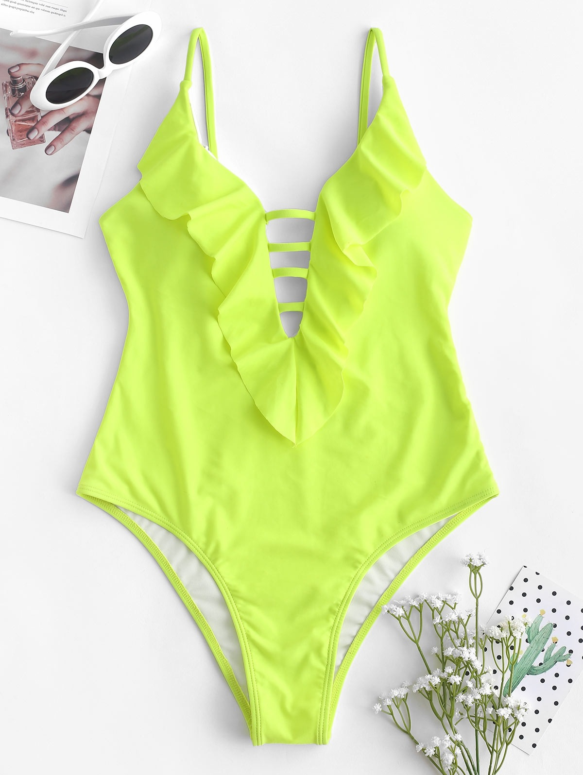 Strappy Ruffle One-piece Swimsuit