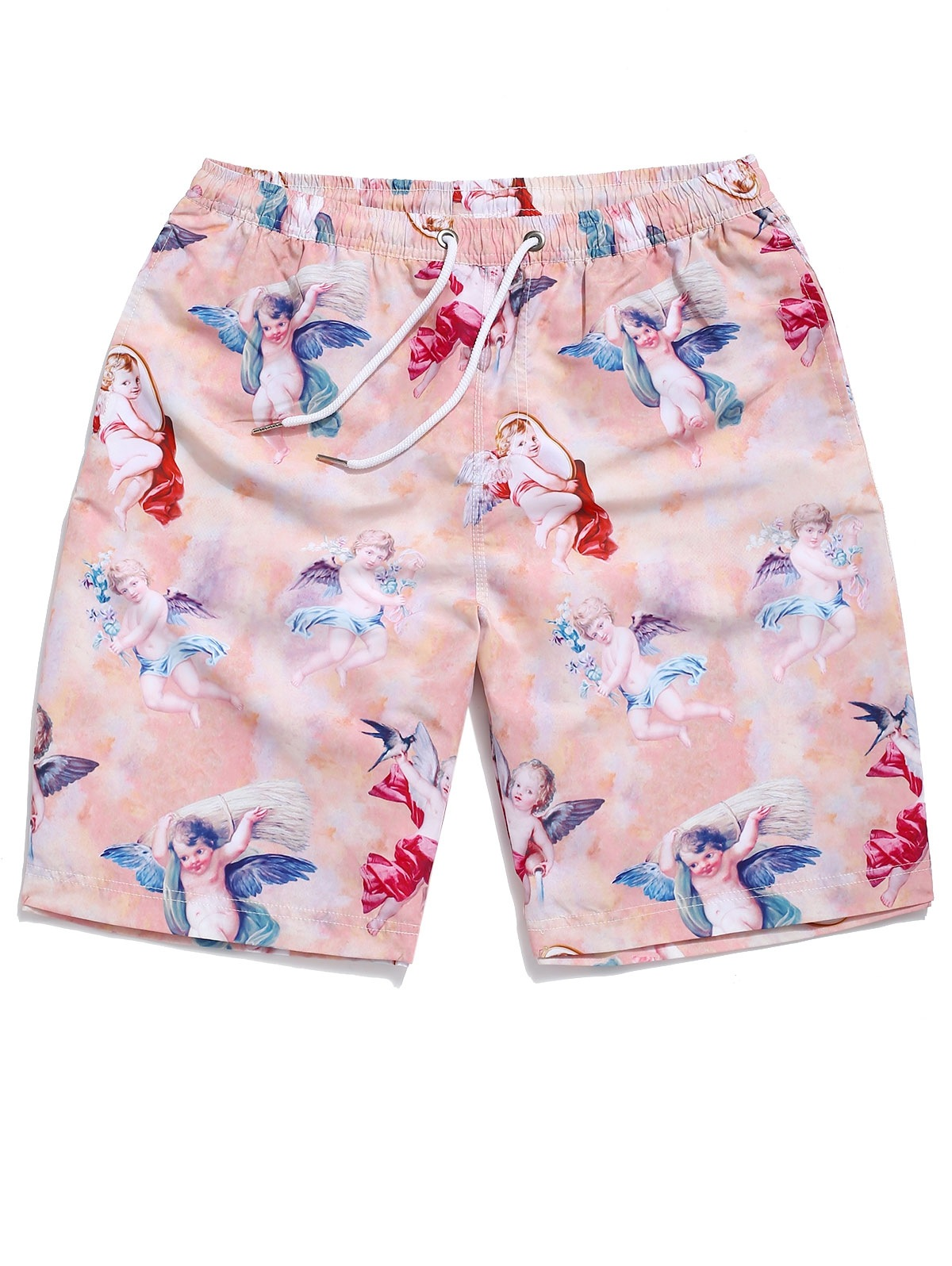 Angel Print Drawstring Beach Shorts
