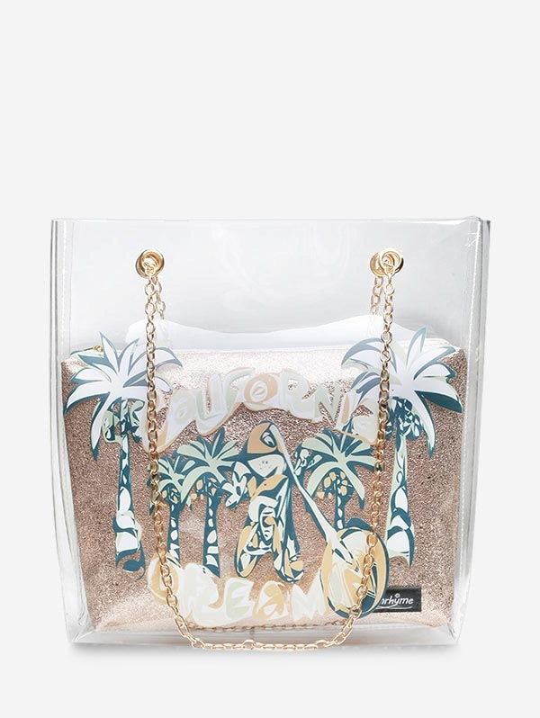 Coconut Tree Transparent Chain Shoulder Bag