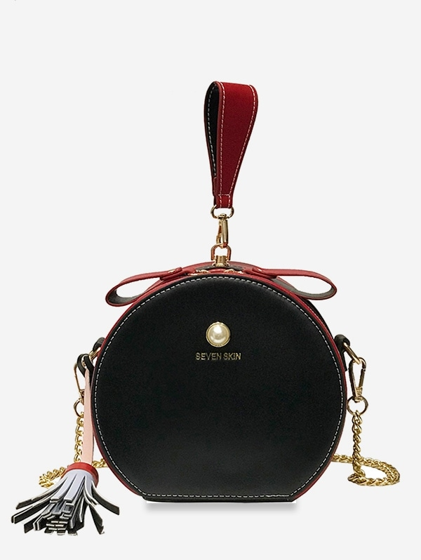 Color Block Tassel Canteen Bag