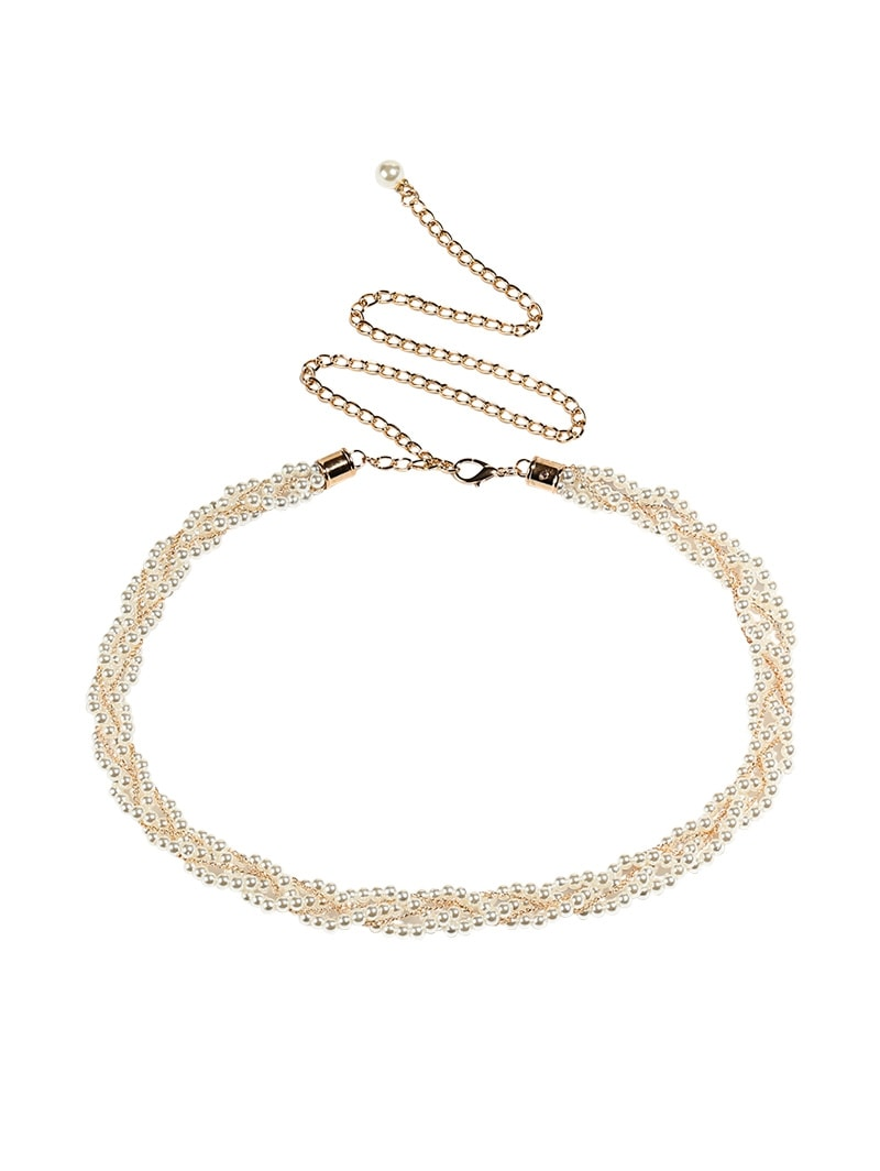 Decoration Dress Faux Pearl Chain Thin Belt