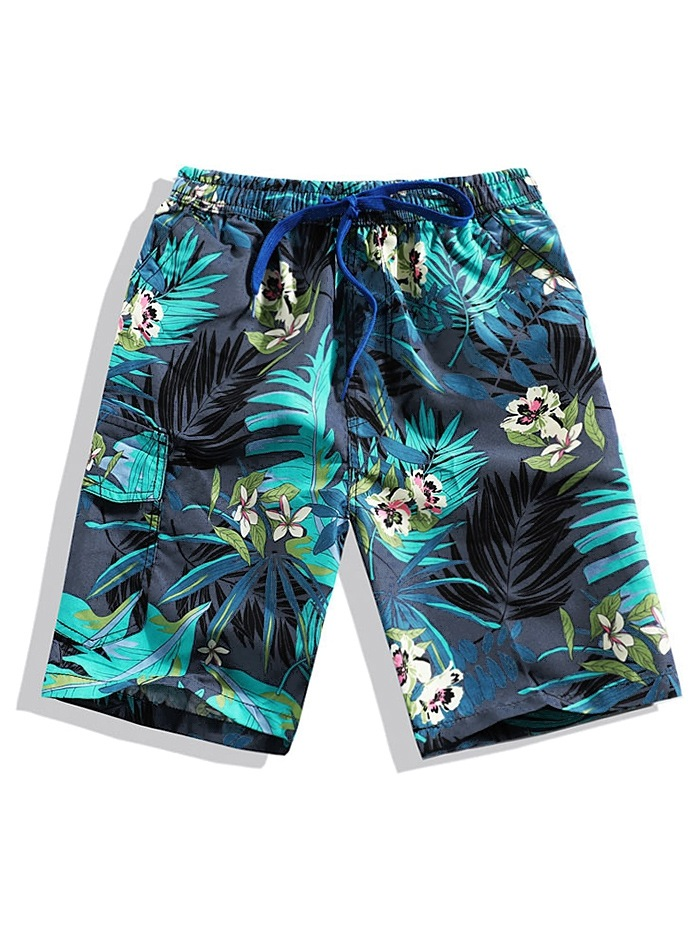 Floral Leaf Print Beach Shorts