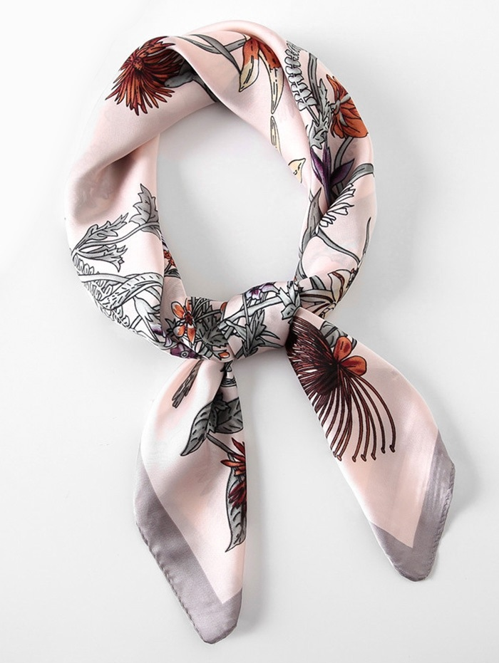Floral Pattern Square Shape Scarf