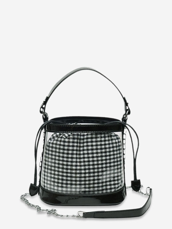Grid Pattern Transparent Bucket Shoulder Bag