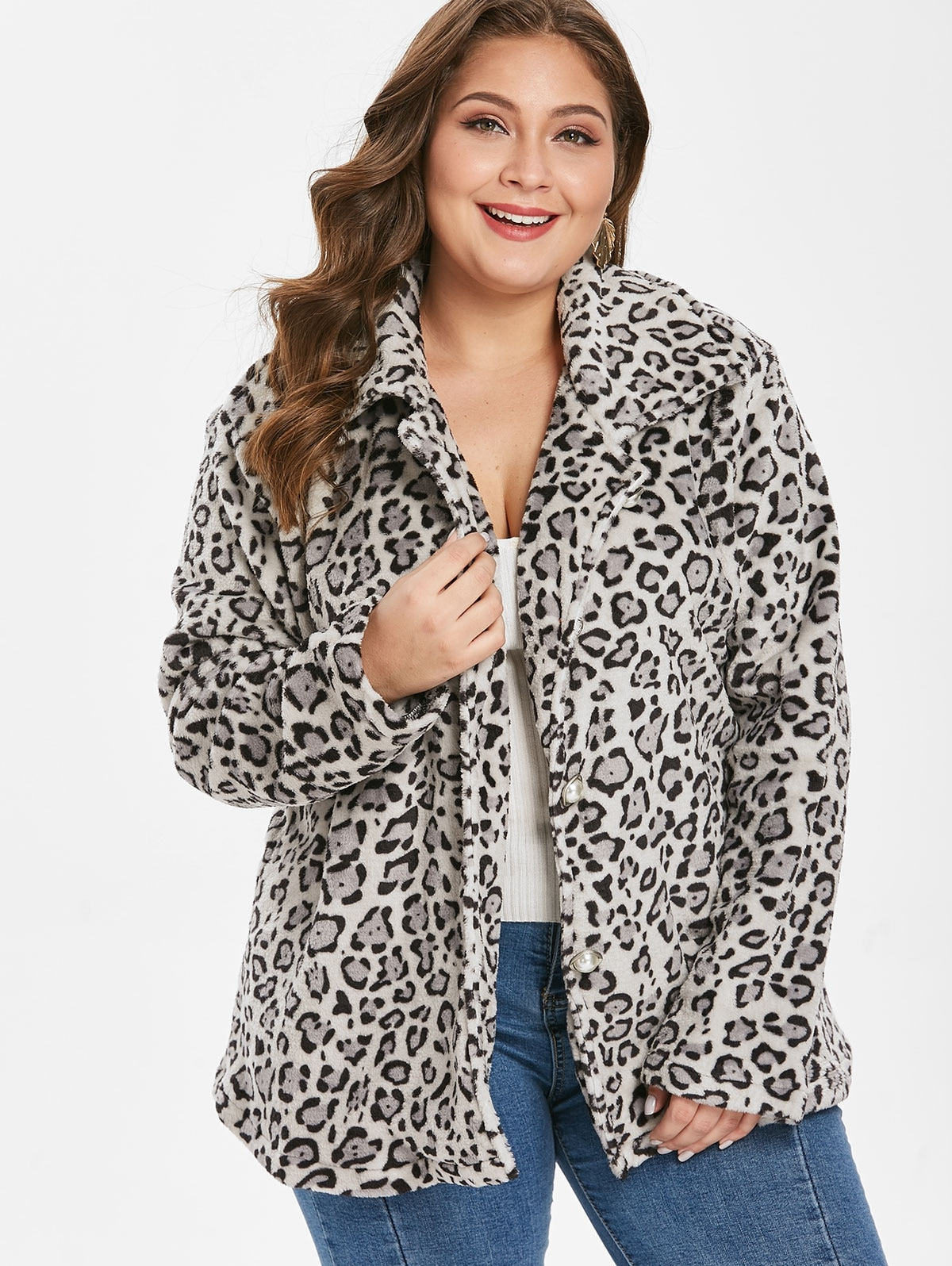Plus Size Leopard Button Up Coat