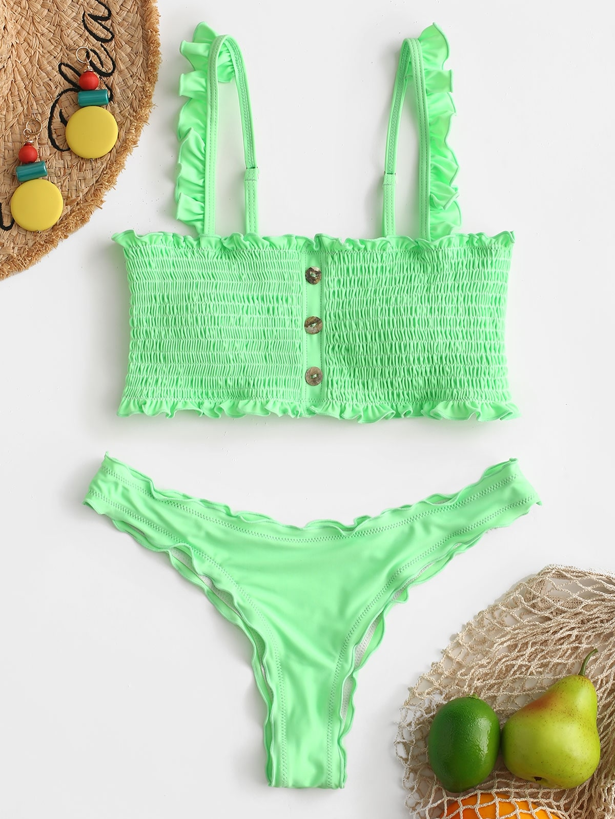Button Embellished Smocked Bikini Set